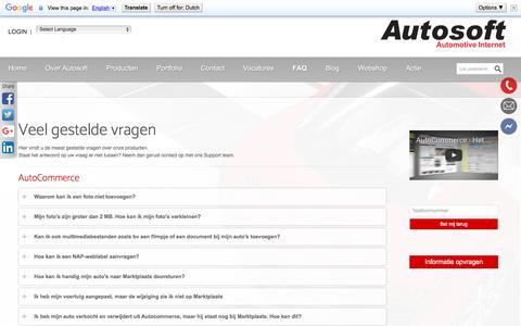 Screenshot of FAQ Page autosoft.eu - FAQ - Veelgestelde vragen - captured May 31, 2017