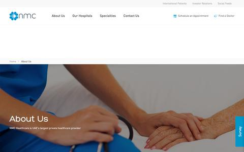 Screenshot of About Page nmc.ae - NMC Healthcare | About Us - captured Sept. 23, 2018