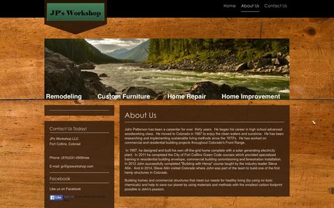 Screenshot of About Page jpsworkshop.com - JPs Workshop LLC - About Us - captured Jan. 9, 2016