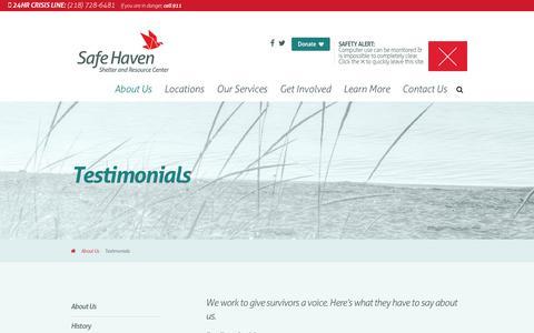 Screenshot of Testimonials Page safehavenshelter.org - Testimonials | Safe Haven - captured Oct. 1, 2018