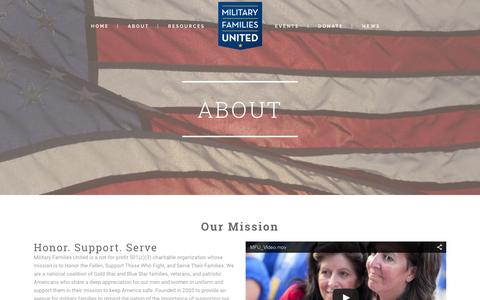 Screenshot of About Page militaryfamiliesunited.org - Military Families United | Military Support - captured Feb. 22, 2016