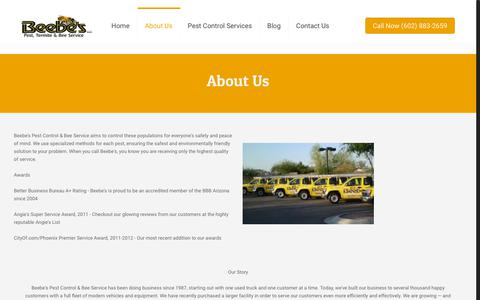 Screenshot of About Page beebes.com - About Us – Beebe's Arizona Pest Control - captured Oct. 5, 2018