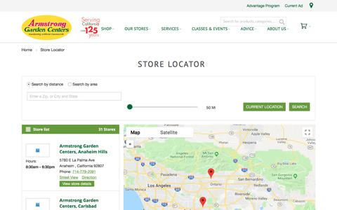 Screenshot of Locations Page armstronggarden.com - Store Locator - captured Sept. 23, 2018