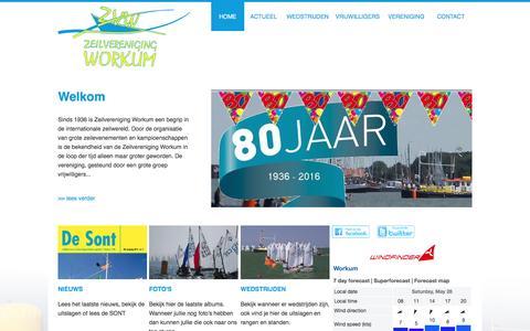 Screenshot of Home Page zvworkum.nl - Zeilvereniging Workum opgericht 7 februari 1936 - captured May 28, 2016