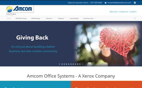 Screenshot of Home Page teamamcom.com - Amcom  Managed Print Services in Coraopolis PA, Pittsburgh Pennsylvania Xerox MFP - captured Oct. 3, 2018