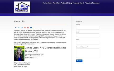 Screenshot of Contact Page diligentsearches.com - Contact Us  @  Janine Losey - captured Oct. 5, 2014
