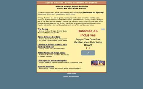 Screenshot of Home Page sydney-landmarks.com - Sydney, Australia - Sydney Landmarks and Districts - captured Oct. 10, 2015