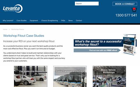 Screenshot of Case Studies Page levanta.com.au - Workshop Fitouts - Levanta - captured Nov. 10, 2018