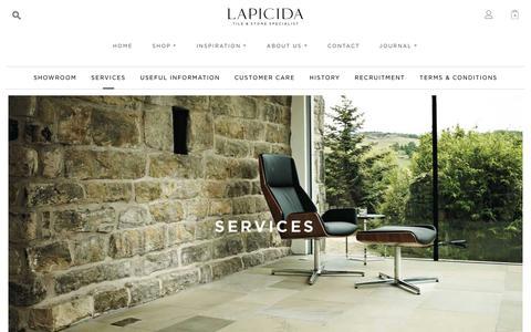 Screenshot of Services Page lapicida.com - Services - Lapicida - captured Jan. 3, 2020