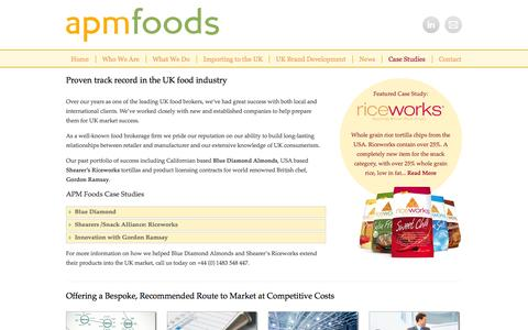 Screenshot of Case Studies Page apmfoods.co.uk - Case Studies | Food Brokers | APM Foods | UK - captured Sept. 30, 2014