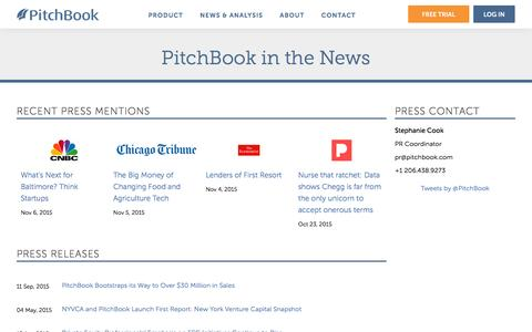 Screenshot of Press Page pitchbook.com - PitchBook in the News | PitchBook Press Releases - captured Nov. 17, 2015