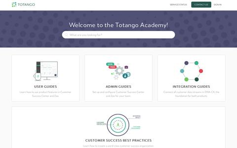 Screenshot of Support Page totango.com - Totango - captured Oct. 2, 2017