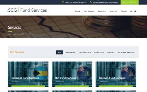 Screenshot of Services Page scgfundservices.com - Services – SCG FUND SERVICES - captured Oct. 1, 2018