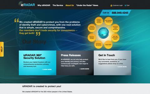 Screenshot of About Page idradar.com - Identity Protection Company | Online Privacy Company | idRADAR - captured Sept. 19, 2014