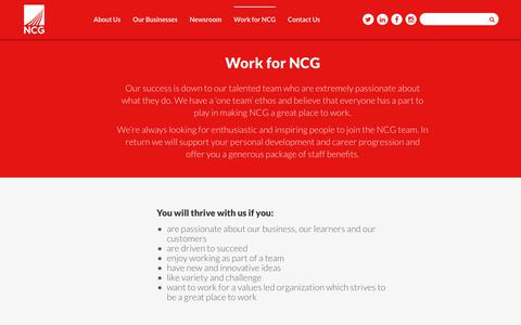 Screenshot of Jobs Page Team Page Testimonials Page ncgrp.co.uk - Work for NCG | NCG - captured Oct. 20, 2018