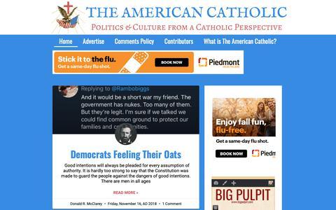 Screenshot of Home Page the-american-catholic.com - The American Catholic – Politics & Culture from a Catholic Perspective - captured Nov. 17, 2018