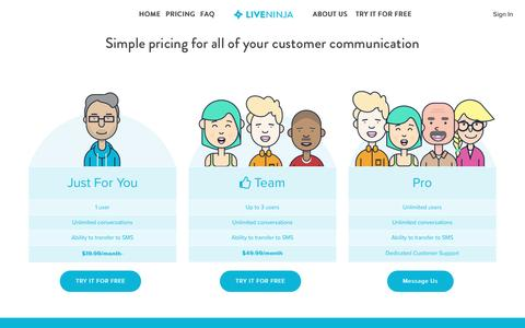Screenshot of Pricing Page liveninja.com - LiveNinja - Messenger Live Chat Pricing - captured Aug. 5, 2016