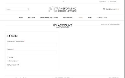Screenshot of Login Page transformingchurchesnetwork.org - My Account | Transforming Churches Network - captured Sept. 21, 2018