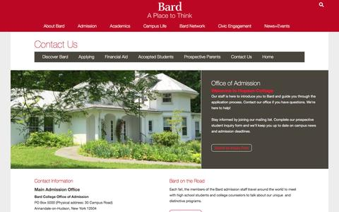 Screenshot of Contact Page bard.edu - Contacting Admission - captured Jan. 19, 2016