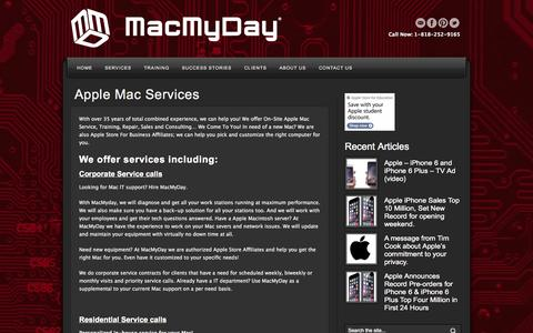 Screenshot of Services Page macmyday.com - MacMyDay Apple Macintosh Specialist iPad Training Apple Service Apple Repair Apple Sales Apple Training Los Angeles 818 445 5715 | MacMyDay - captured Sept. 30, 2014