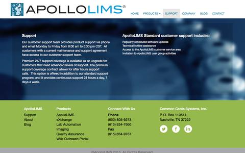 Screenshot of Support Page apollolims.com - Support Page - captured Dec. 25, 2015