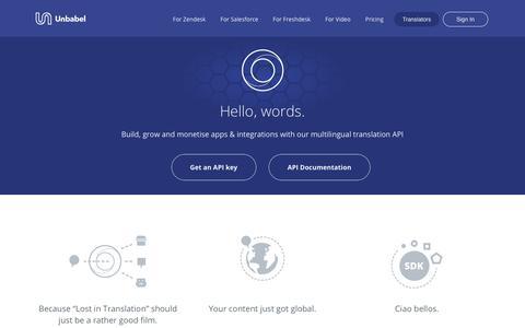 Screenshot of Developers Page unbabel.com - (2) New Messages! - captured Jan. 31, 2018