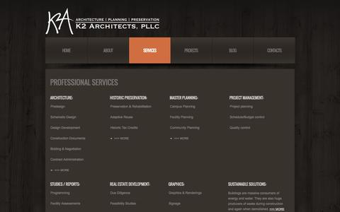 Screenshot of Services Page k2-a.com - K2 Architects | Architecture | Planning | Preservation - captured Oct. 8, 2014