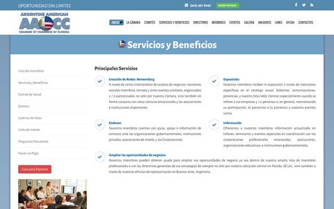 Screenshot of Services Page argentinaflorida.org - ARGENTINE AMERICAN CHAMBER OF COMMERCE OF FLORIDA, Inc. - captured Feb. 6, 2016