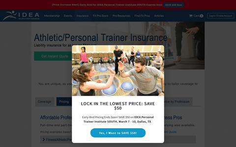 Screenshot of Pricing Page ideafit.com - Personal Trainer Insurance - Personal Training Insurance Pricing - captured Jan. 21, 2019
