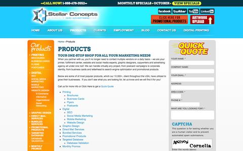 Screenshot of Products Page stellarconcepts.com - Print Postcards: E-commerce Websites, Logo Designers, Envelopes Printing - captured Nov. 4, 2014