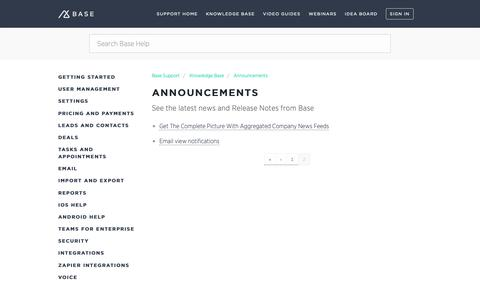 Screenshot of Support Page getbase.com - Announcements – Base Support - captured Oct. 9, 2018