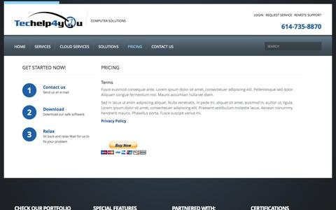 Screenshot of Pricing Page techelp4you.com - Pricing  |  Techelp4you Solutions LLC - captured Oct. 7, 2014