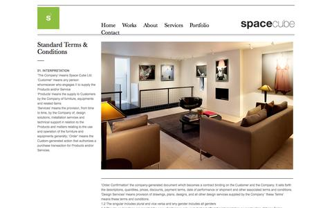 Screenshot of Terms Page space-cube.com - Standard Terms & Conditions | Spacecube - captured Oct. 9, 2014