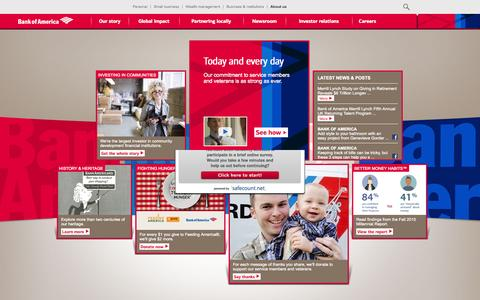 Screenshot of About Page bankofamerica.com - About Bank of America - Service, Commitment & Philanthropy - captured Oct. 27, 2015