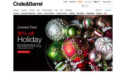 Screenshot of Home Page crateandbarrel.com - Furniture, Home Decor and Wedding Registry | Crate and Barrel - captured Nov. 25, 2015