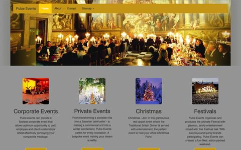 Screenshot of Home Page pulce.co.uk - Pulce Events-Home - Event Management Company – Expert Planners of Events for Luxury Events - captured Oct. 3, 2014
