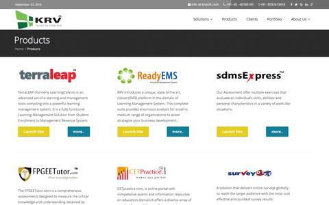 Screenshot of Products Page krvsoft.com - Learning and Enterprise Management Products - captured Sept. 23, 2016