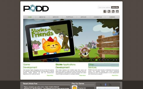 Screenshot of Home Page poddcorp.com - PODD: Game development | Art production | Mobile development - captured Oct. 1, 2014