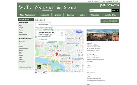 Screenshot of Contact Page Locations Page weaverhardware.com - Contact W. T. Weaver & Sons in District of Columbia - captured July 1, 2018