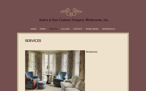 Screenshot of Services Page samsandson.com - samsandsondrapery | SERVICES - captured Oct. 5, 2017