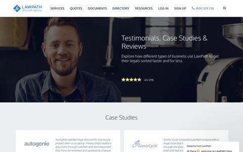 Screenshot of Testimonials Page lawpath.com.au - Testimonials - LawPath - captured Sept. 27, 2018