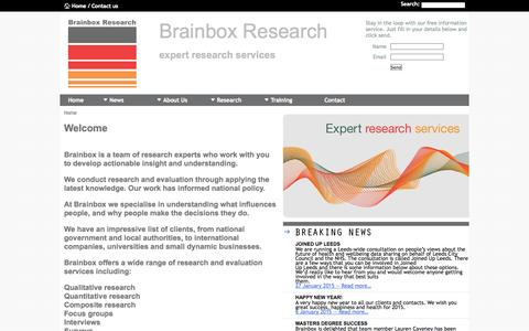 Screenshot of Home Page brainboxresearch.com - Brainbox Research - Qualitative Research, Quantitative Research, Marketing and Training - captured Jan. 28, 2015