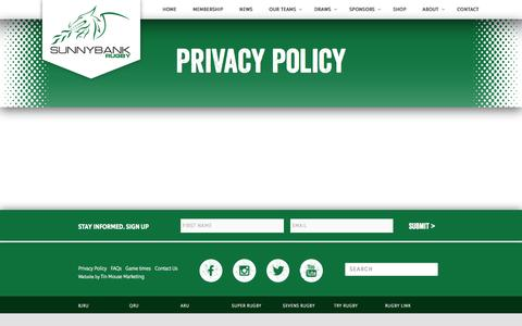 Screenshot of Privacy Page sunnybankrugby.com.au - Privacy Policy | Sunnybank Rugby Queensland - captured Feb. 23, 2016