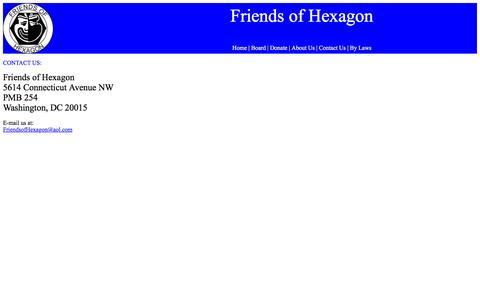 Screenshot of Contact Page friendsofhexagon.org - Friends of Hexagon - Contact Us - captured June 1, 2016