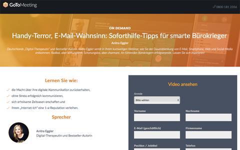 Screenshot of Landing Page gotomeeting.com - Handy-Terror, E-Mail-Wahnsinn: Soforthilfe-Tipps für smarte Bürokrieger - captured April 14, 2018