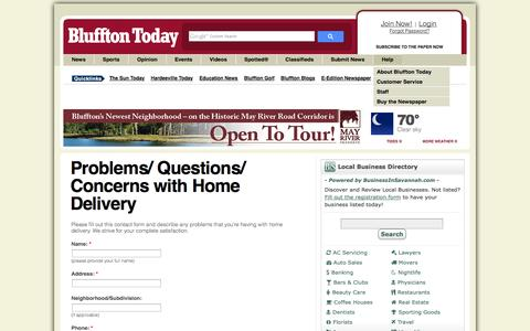 Screenshot of Support Page blufftontoday.com - Problems/ Questions/ Concerns with Home Delivery | Bluffton Today - captured Sept. 19, 2014