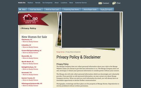 Screenshot of Privacy Page mungo.com - Mungo Companies - Privacy Policy & Disclaimer - captured Sept. 18, 2014