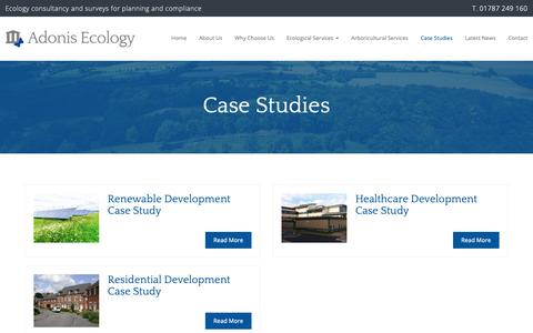 Screenshot of Case Studies Page adonisecology.co.uk - Case Studies   Adonis Ecology - captured Oct. 3, 2018