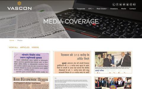 Screenshot of Press Page vascon.com - Media Coverage   Vascon Engineers - captured Oct. 20, 2018