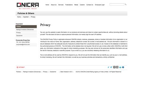Screenshot of Privacy Page onicra.com - Privacy | Onicra Credit Rating Agency of India Ltd - captured Oct. 1, 2014